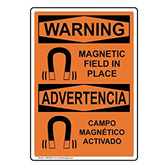 Warning Magnetic Field in Place - Campo Magnético Activado OSHA Safety Sign, 14x10 in. Aluminum for Medical Facility by ComplianceSigns: Amazon.com: ...
