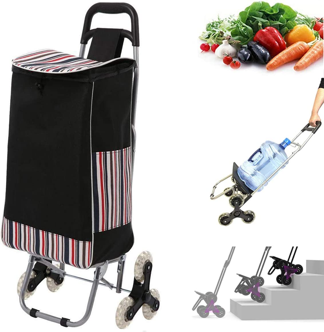 Folding Shopping Cart, Stair Climber Cart with Wheels, Foldable Compact Grocery Pull-Cart, Utility Cart Hand Truck, Waterproof Lightweight for Easy Storage