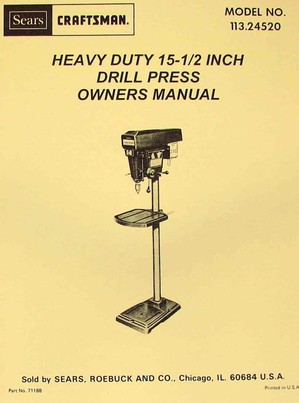 craftsman drill manuals