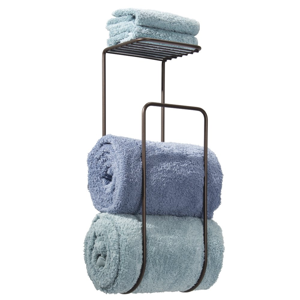 mDesign Modern Metal Wall Mount Towel Rack Holder and Organizer with Storage Shelf for Bathroom Organizing of Washcloths, Hand/Face or Bath Towels, Beach Towels - Bronze MetroDecor 1138MDBA