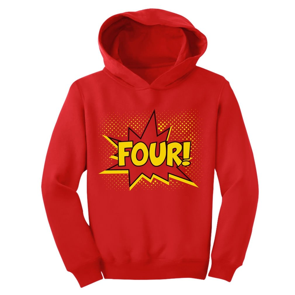 Four! Superhero Fourth Birthday - 4 Years Old Gift Idea Toddler Hoodie GM0h0Mgvm