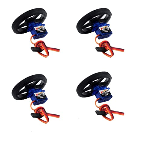Geekstory Feetech FS90R 360 Degree Continuous Rotation Micro Servo Motor +  RC Tire Wheel for Arduino Micro:bit (Pack of 4)