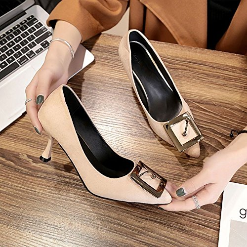 36 Mujer Trabajo De Hrcxue Alto Tacón Simple Hembra 37 Zapatos Delgados Atar Para Punto Elegantes Luz Y Orden wwxqAPHa