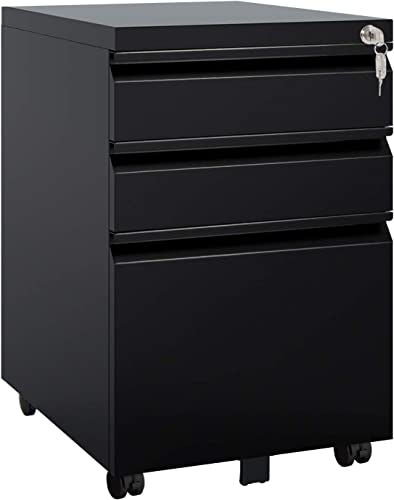 DEVAISE 3 Drawer Mobile File Cabinet with Lock, Metal Filing Cabinet Legal Letter Size, Fully Assembled Except Wheels, Black