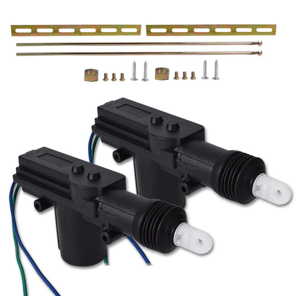 RUNMADE Universal High Power Heavy Duty Door Lock Actuator (2 Pack, Black)