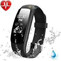 Lintelek Fitness Tracker, 107Plus Heart Rate Monitor Activity Tracker, Stopwatch, Relax, 14 Sports Modes,IP67 Waterproof Bluetooth Pedometer Wristband for iOS & Android Smartphone