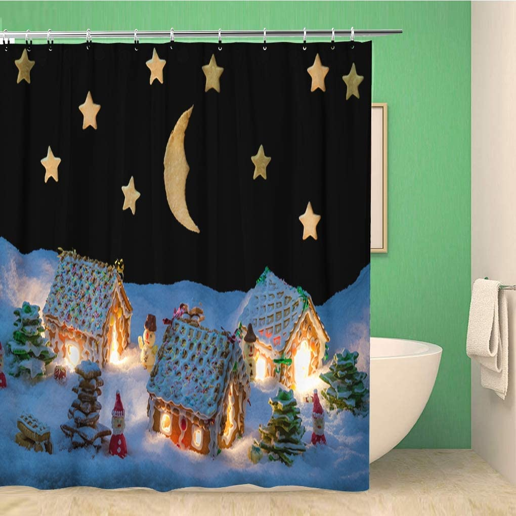 Awowee Bathroom Shower Curtain House Gingerbread Home at The Night in Winter Cake 60x72 inches Waterproof Bath Curtain Set with Hooks