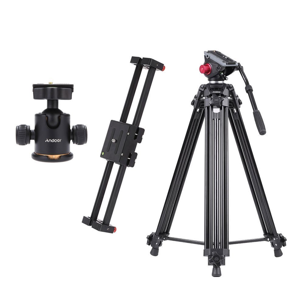 Andoer V2-500 Track Dolly Slider Video Stabilizer 50cm Rail & 72Inch/ 185cm Pro Camera Tripod Panorama Fluid Hydraulic Head & Tripod Ball Head Ballhead with Quick Release Plate