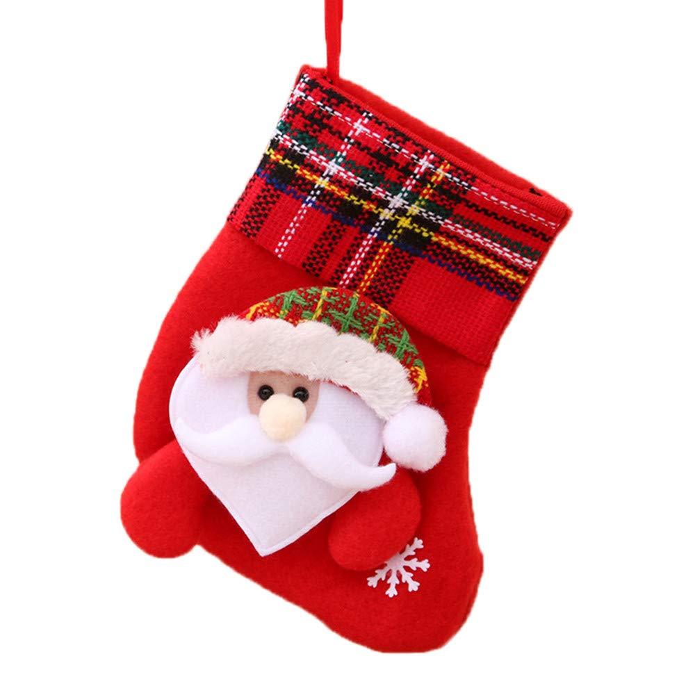 LIULIULU✿Christmas Decoration Santa Snowman Stockings Sock New Year Christmas Socks Gift (A)