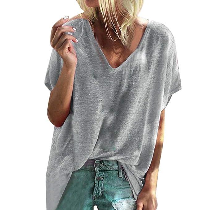 Yvelands Tapas Flojas sólidas sólidas de la Camisa de la Blusa de la Manga Corta de Las señoras de la liquidación: Amazon.es: Ropa y accesorios