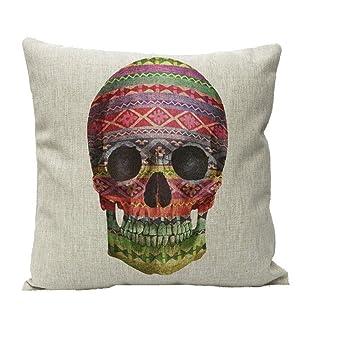 "Cotton Linen 18/"" Home Car Bed Sofa Cushion Throw Pillow Case Square Skull Cover"
