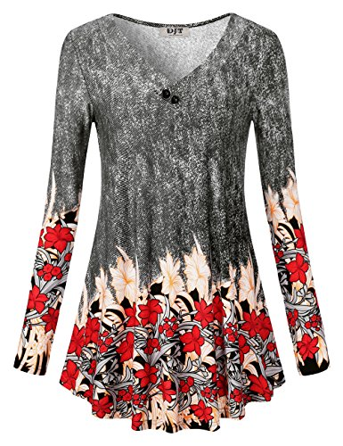 Djt Womens Long Sleeve V Neck Tunic Top Floral Shirt Printed A Line Loose Fit Blouse Flared Casual Tunic Black Floral L