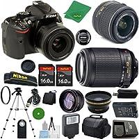 Nikon D5200 International Version - No Warranty, 18-55mm f/3.5-5.6 DX VR, Nikon 55-200mm f4-5.6G VR Nikkor, 2pcs 16GB ZeeTech Memory, Case, Wide Angle, Telephoto, Flash