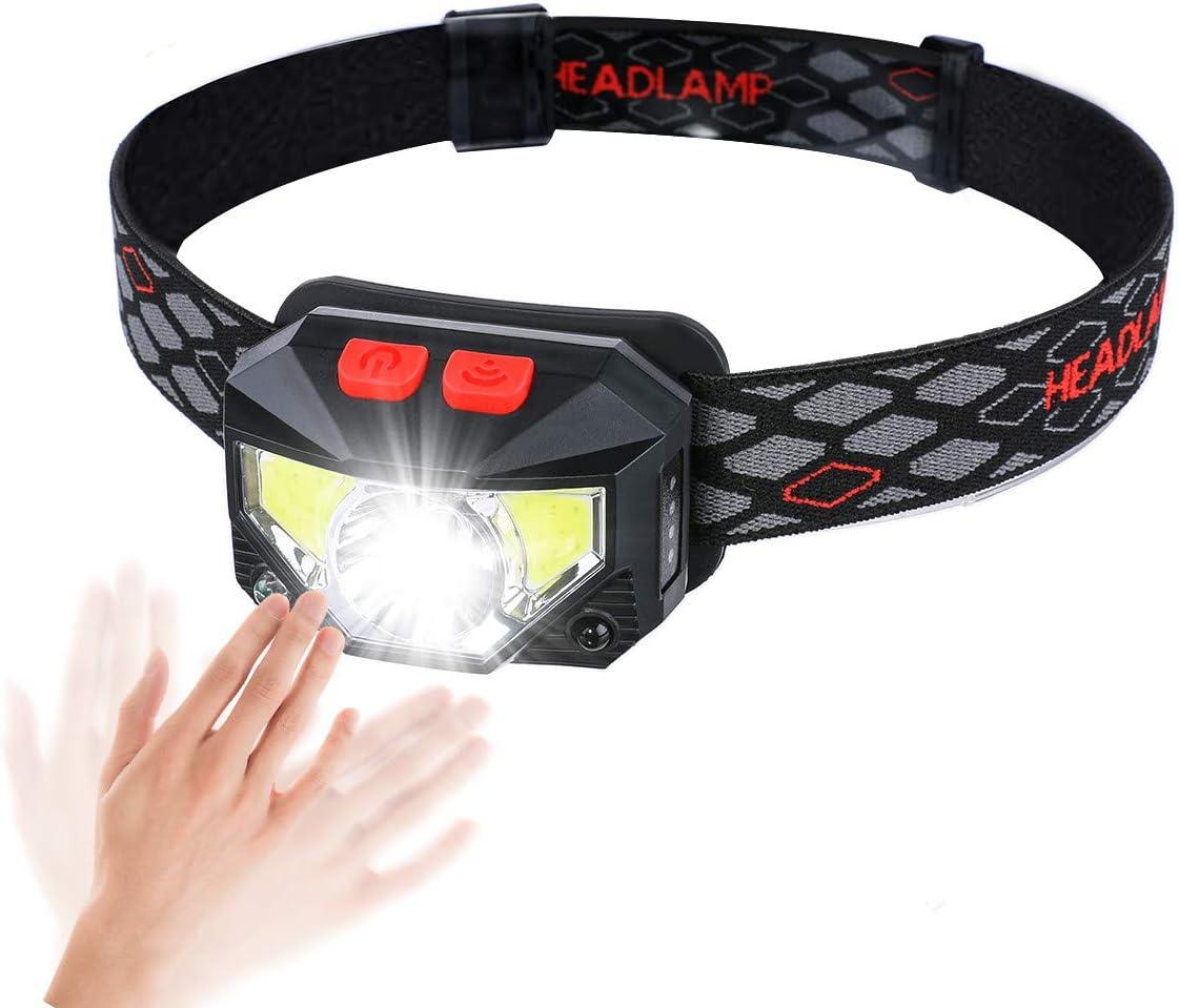 LED Stirnlampe Sinnesfunktion Strobe Tatuer Wasserdicht Kopflampe 7 Lichtmodi 2 Verstellbares Band Wandern und mehr Radfahren USB Kabel Camping Lampe Beleuchtung für Joggen