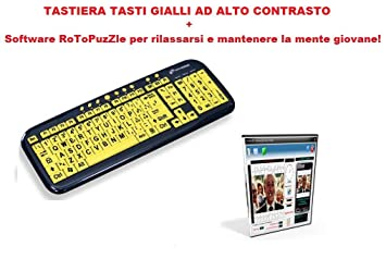 Teclado multimedia USB ad Alto Contraste Keyboard USB Big Font – Caracteres Grandes y teclas amarillas