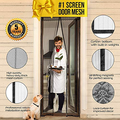 Magnetic Screen Door Magnet Mesh I Premium Magic Curtain with Magnets & Mosquito Screens I Bug Net for Doors [Upgraded 2018 Version] up to 39'' x 82'' Max by Lazy Monk