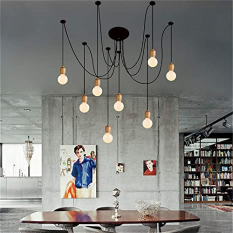 sports shoes 25cb9 330fb SUSUO Lighting Modern Chic Multi Pendant Chandelier Adjustable DIY Ceiling  Spider Pendant Lighting (Wood)