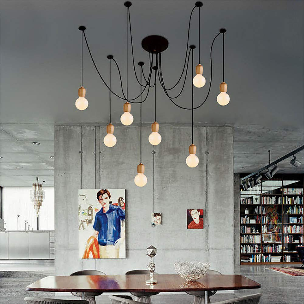 SUSUO Lighting Modern Chic Multi Pendant Chandelier Adjustable DIY Ceiling Spider Pendant Lighting (Wood)