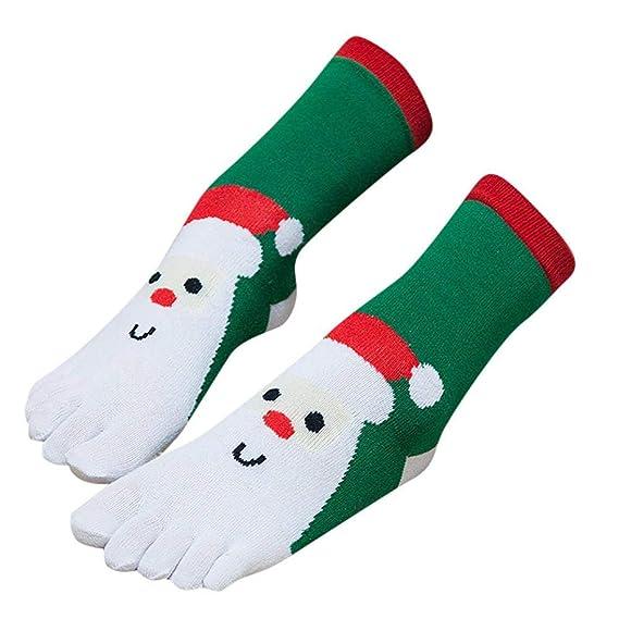 VJGOAL Navidad Unisex impresión 3D Calcetines de punta multicolor Calcetines de cinco dedos Algodón Calcetines divertidos