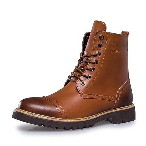 Hombres Martin Botas de Cuero Suave Invierno Zapatos Hombres Impermeable Trabajo Botas Casual Hombres Botines: Amazon.es: Zapatos y complementos