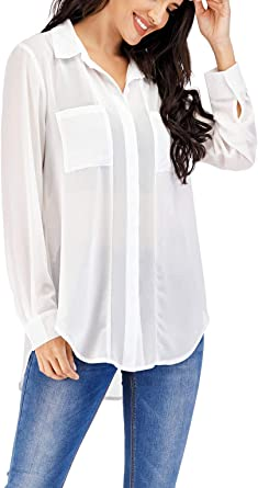 MISS MOLY Women's White Button Down Shirt Casual Long Sleeve Chiffon Blouse  Tops XX-Large at Amazon Women's Clothing store