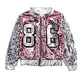 Patzbuch Kids Dance Suit, Girls Hip Hop Sequins Costume Performance Vest + Shorts Coat Dancing Clothes (120,#2)