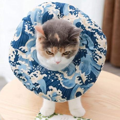 Feeder-B Cabeza de Perro y Gato de Elizabeths Circle Cubierta con Collar de Tela