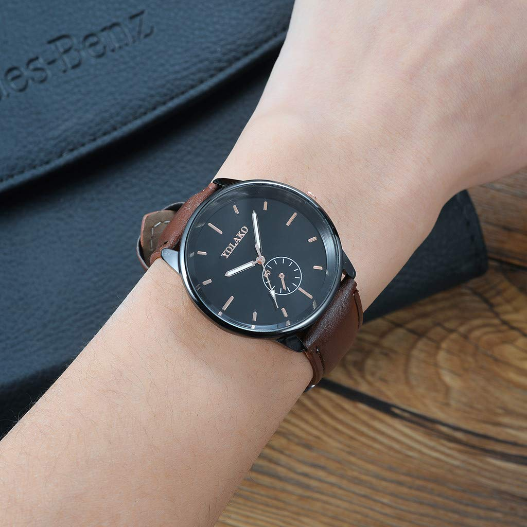 Amazon.com : XBKPLO Mens Quartz Watchs, Luxury Temperament Cool Business Analog Wrist Watch Dress Black PU Strap : Pet Supplies