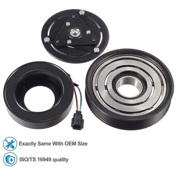 Ca a/c compresor Kit de montaje de embrague para 2007 - 2012 Nissan Altima Sentra 4 cilindros (2,5 L: Amazon.es: Coche y moto