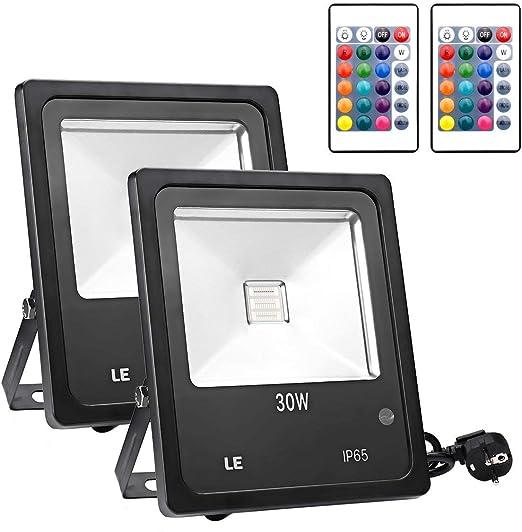 Lighting EVER - Foco LED RGB 30W, Mando incluido, para Exteriores ...