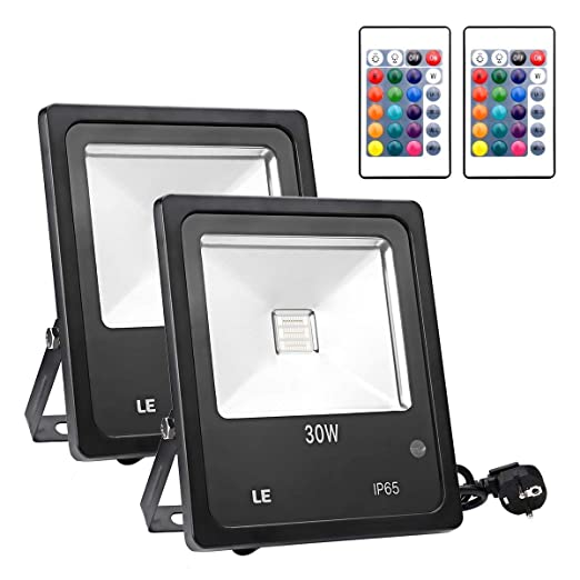 Lighting EVER - Foco LED RGB 30W, Mando incluido, para Exteriores IP65, Multicolor, Pack de 2