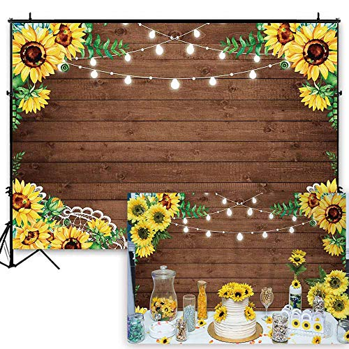 Funnytree 7x5ft Durable Fabric Sunflowers Rustic Brown Wood Backdrop No Wrinkles Retro Wooden Floor Photography Background Flower Baby Shower Birthday Party Decorations Photo Booth Props Banner (Sunflower 5 Panel)