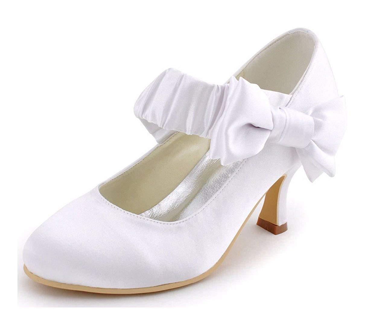 Qiusa Qiusa Qiusa Damen Geraffte Knöchelriemen mit Knoten Satin schöne Hochzeit Schuhe (Farbe   Weiß-6.5cm Heel Größe   2.5 UK) aae56e
