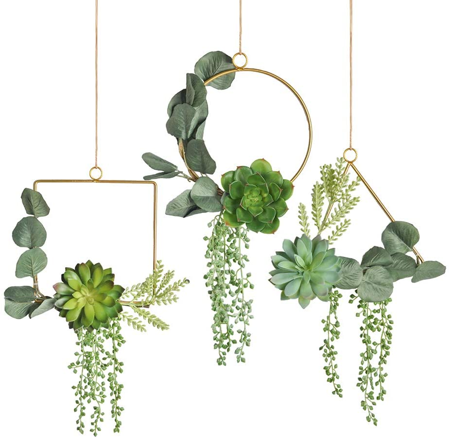 Pauwer Succulent Wedding Wreath Set of 3 Artificial Succulent Plants with Eucalyptus Leaves Metal Floral Hoop Wreath Garland for Wedding Backdrop Nursery Wall Decoration