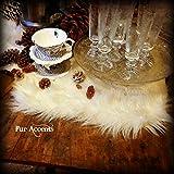 Classic Shag Fur Table Runner /Snow White / Dresser Scarf / Contemporary Decor / Doily / Shaggy Sheepskin Faux Fur (16x60)