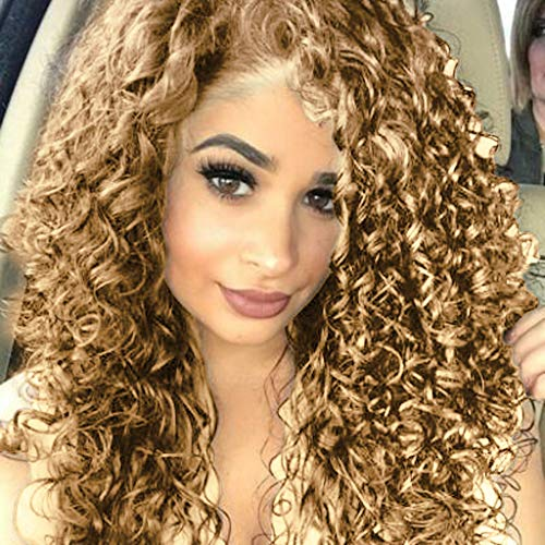 Thepass Natural Mixed Gold Long Curly Wavy Free Part Lace Front Wig For Women