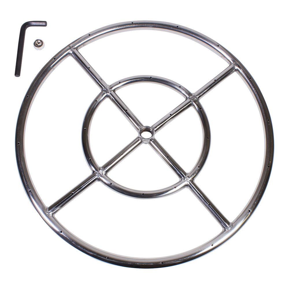 Celestial Fire Glass 18'' Round Fire Pit Burner Ring, Stainless Steel, Double Ring