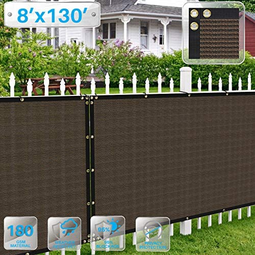 Patio Fence Privacy Screen 8 x 130 , Pergola Shade Cover Canopy Sun Block, Heavy Duty Fence Privacy Netting, Commercial Grade Privacy Fencing, 180 GSM, 90 Privacy Blockage Brown