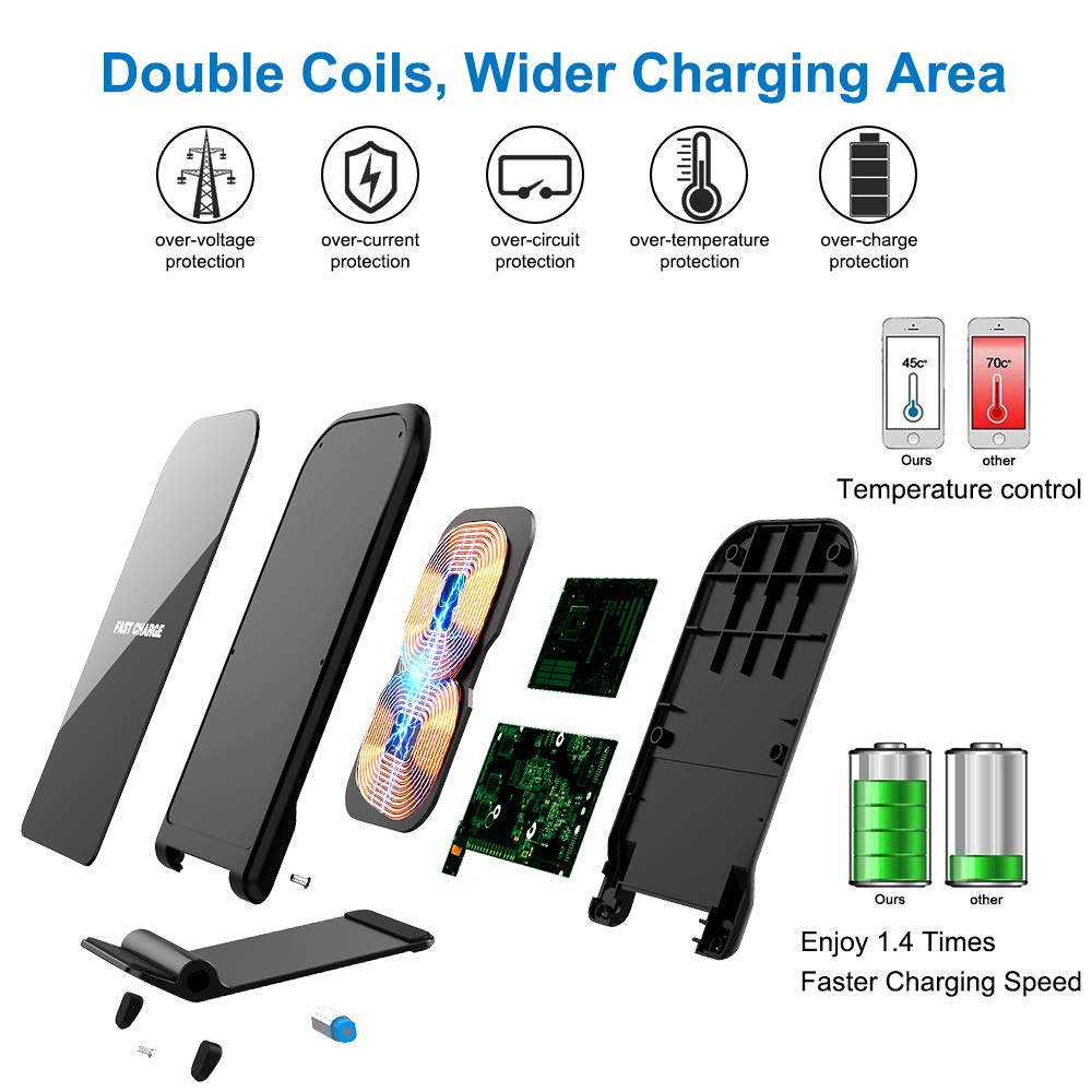 KZY Fast Wireless Charger Stand, QI Certified Wireless Charger Compatible for iPhone X/8/8+, Wireless Stand Charger for Galaxy S9/S9+ Note 8/5 S8/S8+ S7/S7 Edge, Black (with QC 3.0 AC Adapter)