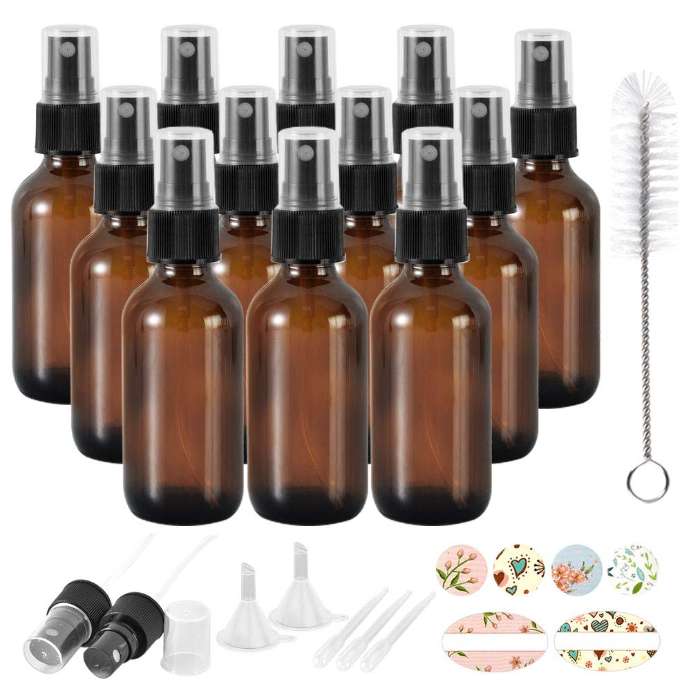 12 Pack 2oz 60 ml Amber Glass Spray Bottles with Fine Mist Sprayer Dust Cap for Essential Oils, Perfumes,Cleaning Products.Included 1 Brush,2 Extra Sprayers,2 Funnels,3 Droppers 24 Labels.