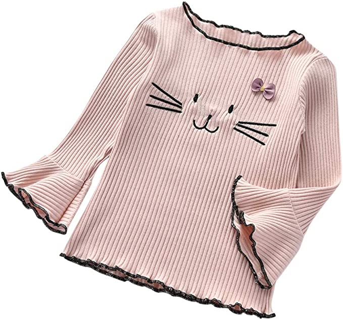 Ex Store Baby Girls 2 Pack Cat White Lilac Frill Tops T-Shirts Age 12 18 24 Mths