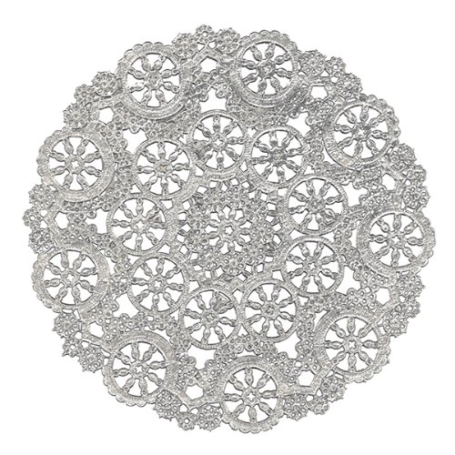 Royal Lace Round Foil Doilies, 4-Inch, Silver, Pack of 24 (B26502)