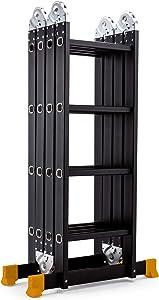 Heavy Duty Gaint Aluminum Multi Purpose Folding Ladder Scaffold Ladders with 2 Platform Plates- 330Lbs (15.5ft Black)