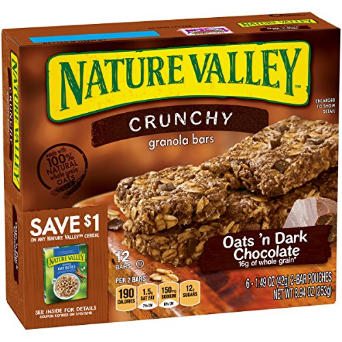 - Nature Valley Granola Bars, Crunchy, Oats and Dark Chocolate, 6 Pouches, 8.94 Ounce