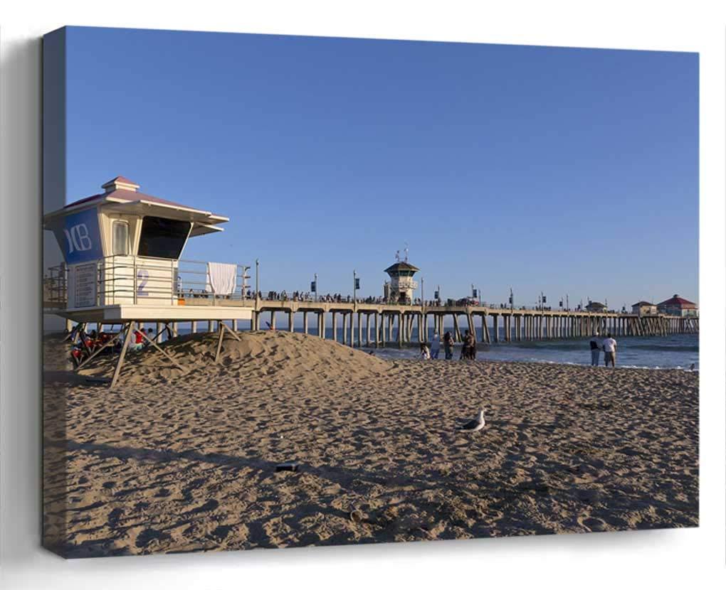 Wall Art Canvas Print Home Decor (20x14 inches)- Huntington Beach Ocean Sand Lifeguard Buildi
