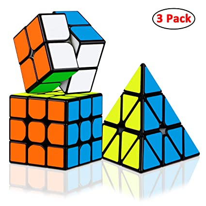 06f3c420a11e Dreampark Speed Cube Bundle [3 Pack] 2x2x2 3x3x3 Pyramid Sticker Magic Cube  Set Puzzle Cube Toys for Kids and Adults