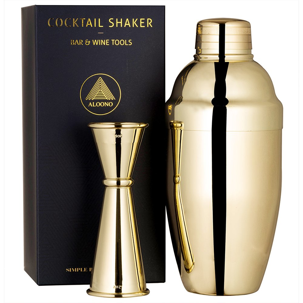 Cocktail Shaker Set by ALOONO: 18oz Weighted Martini Shaker and Japanese Jigger (0.5oz - 2oz), 18/8 Professional Stainless Steel Cocktail Set - Gold Plated