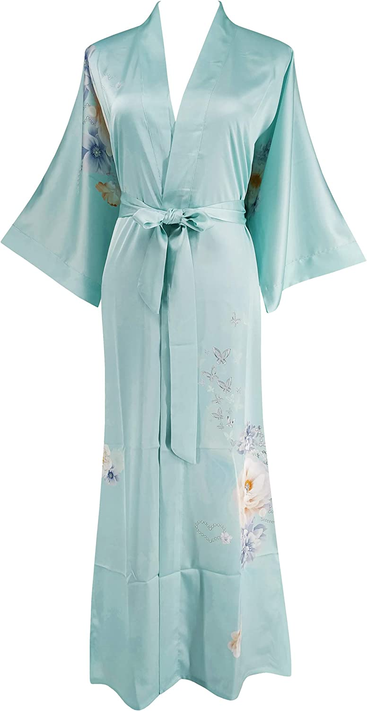 1940s Sleepwear: Nightgowns, Pajamas, Robes, Bed Jackets Ledamon Womens Kimono Long Robe - Classic Floral Bathrobe Nightgown  AT vintagedancer.com