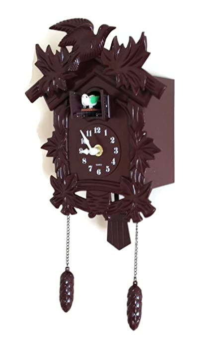 cuckoo clock black forest birdhouse style design plastic wood color antique looking black forest wall clock
