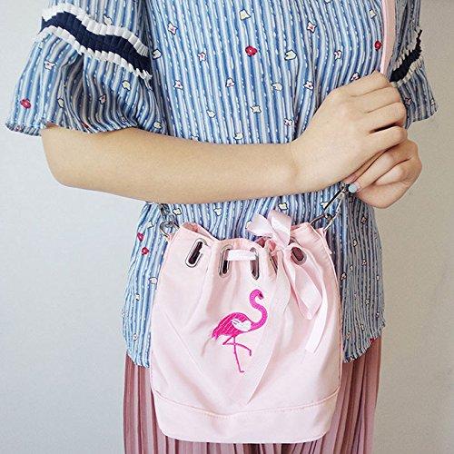 Espeedy Moda mujer impermeable Nylon Mini Bucket Bolsa de cinta Flamingo Emboridery Hombro Messenger Bolsas rosa